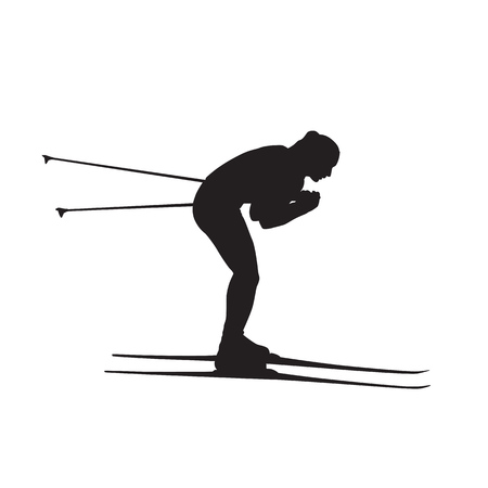 Cross country skier, skiing girl, isolated vector silhouette Ilustração