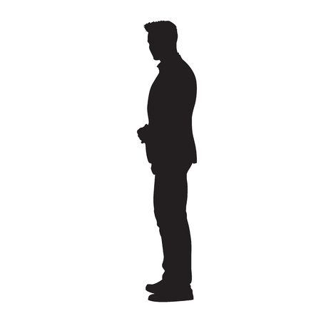 Businessman standing in suit, isolated vector silhouette. Business people