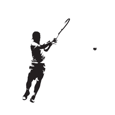 Tenis player, isolated vector silhouette, ink drawing. Individual sport 矢量图像
