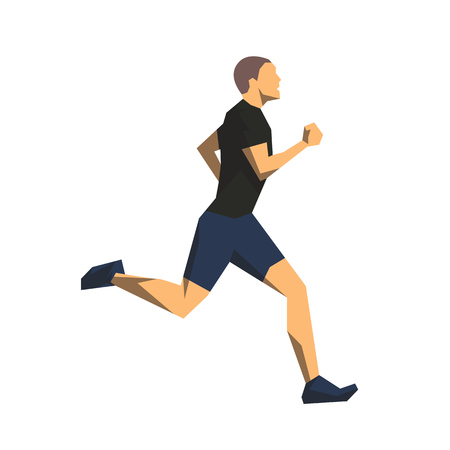 Runner, geometric flat design isolated vector illustration. Running man side view Illustration