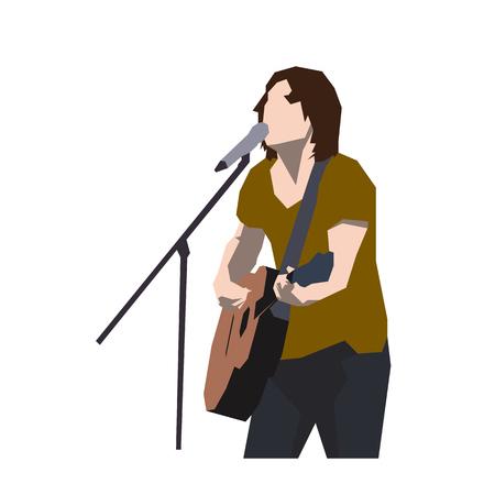 Gitarrist, der Lied singt, flacher Designmusiker, der Gitarre spielt. Isolierte geometrische Vektorillustration