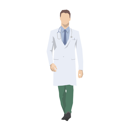 Doctor walking, isolated vector illustration. Medical flat design character