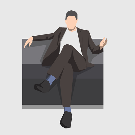 Businessman sitting on the couch, isolated illustration. Geometric flat design. Business people
