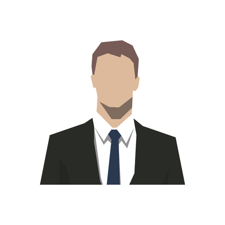 Head of businessman, abstract geometric avatar face icon. Isolated vector flat design illustration