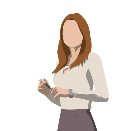 Business woman, presentation, isolated vector illustration. Flat design