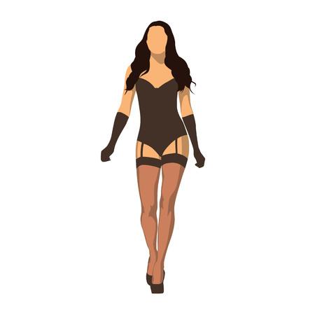 Sexy kobieta spaceru w czarnej bieliźnie, ilustracja na białym tle wektor. Bielizna płaska