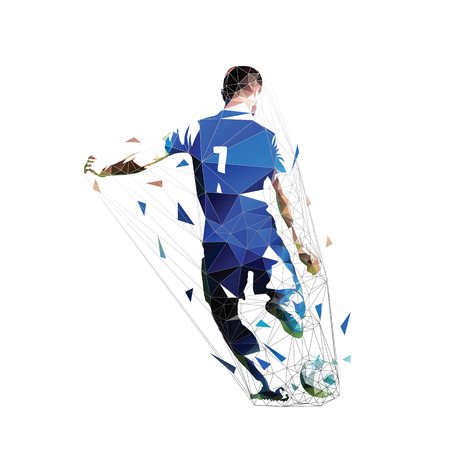 Soccer player in blue jersey kicking ball, low polygonal vector illustration. Team sports