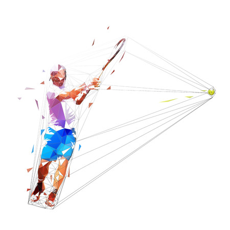 Tennis player low poly vector illustration. Man playing tennis. Individual summer sport. Active people