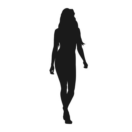 Mujer sexy caminando hacia adelante, silueta vector aislado. Modelo de pasarela