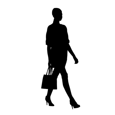 Woman walking with small handbag on her shoulder, isolated vector silhouette, side view
