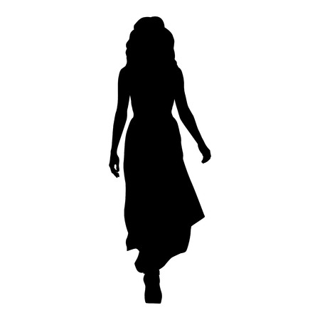 Woman in long evening dress walking forward, isolated vector silhouette, front view