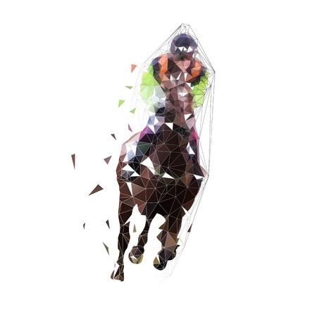 競馬、孤立したベクトル低多角形のイラスト