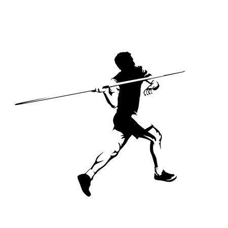 Javelin throw, athlete throwing, isolated vector silhouette. Athletics