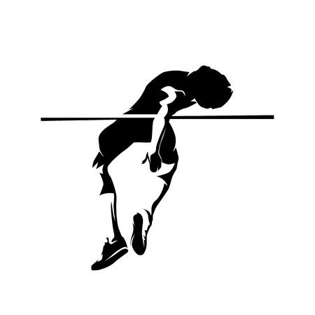 High jump athlete, isolated vector silhouette. Ahtletics, decathlon