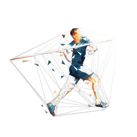 Javelin throw, polygonal athlete throwing, isolated vector geometric illustration. Athletics