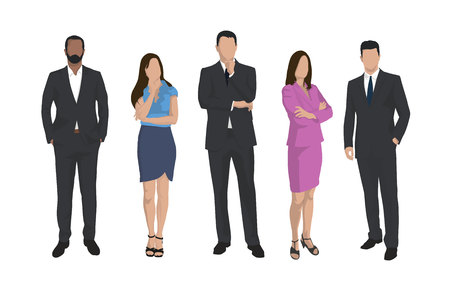 Business men and women, group of isolated vector iilustrations, business people flat design