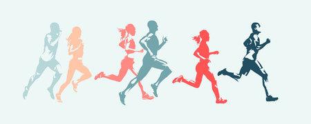 Carrera de maratón. Grupo de gente corriente, hombres y mujeres. Siluetas vectoriales aisladas