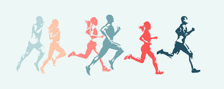 Marathon run. Group of running people, men and women. Isolated vector silhouettes