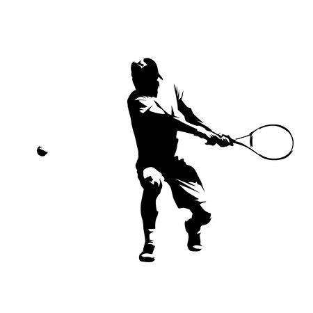 Tennis player, double handed backhand shot, abstract isolated vector silhouette Vetores