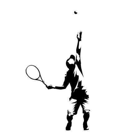 Giocatore di tennis che serve palla, servizio, siluetta astratta di vettore isolato