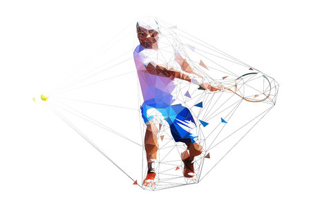 Tennis player polygonal vector illustration. Man playing tennis. Geometric character