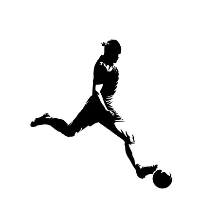 Soccer player kicking ball, isolated vector silhouette. Football, team sport Illustration