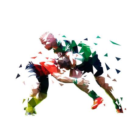 Joueurs de rugby, illustration vectorielle polygonale basse isolée. Deux joueurs de rugby courent l'un vers l'autre