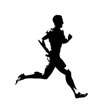 Uomo che corre, siluetta di vettore isolato. Corridore sprint Vettoriali