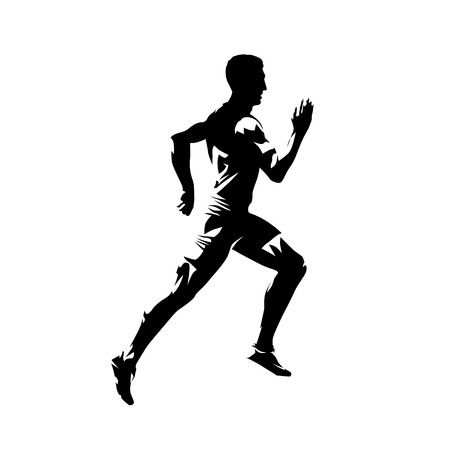 Running man, isolated vector silhouette. Sprinting runner