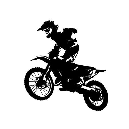 Wyścig motocrossowy, jeździec na motocyklu, sylwetka na białym tle wektor