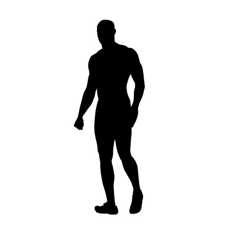 Strong man walking, isolated vector silhouette. Hero with big muscles Vector Illustration