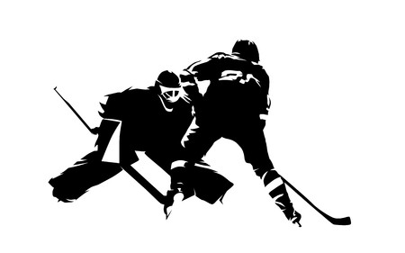 Ice hockey player shoots puck, goalie makes save, abstract isolated vector silhouette Ilustração