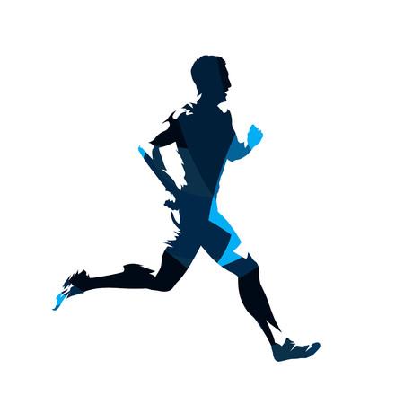 Laufender Mann, abstrakte blaue Vektorsilhouette