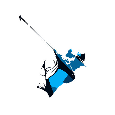 Golf player, abstract blue vector silhouette