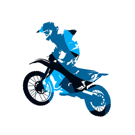 Motocross race, rider on motorbike, abstract blue isolated vector silhouette