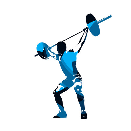 Weightlifter lifts big barbell, abstract blue isolated vector silhouette. Ink drawing. Fitness 일러스트