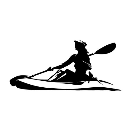 Woman on canoe, isolated vector ink drawing. Abstract vector silhouette. Kayaking water sport