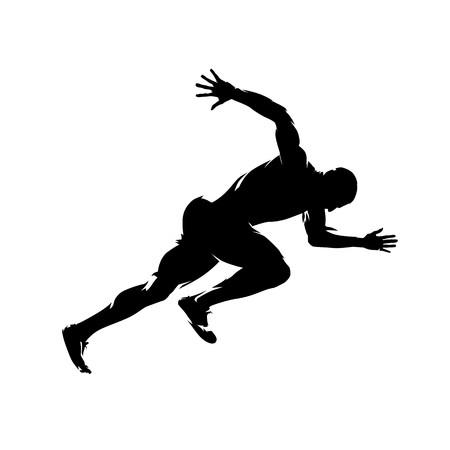 Laufender Mann, Seitenansicht, isolierte Vektorsilhouette. Lauf Vektorgrafik