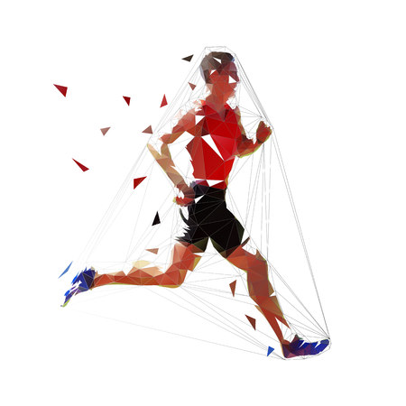 Vector runner, abstract geometric running man illustration. Side view. Low poly 일러스트