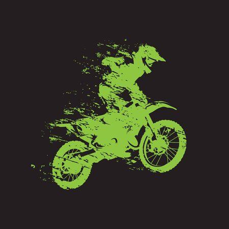 Motocross race, rider on motorbike, isolated vector illustration