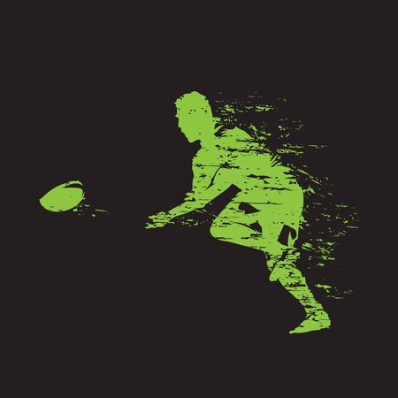 Rugby football player throwing ball, isolated vector illustration