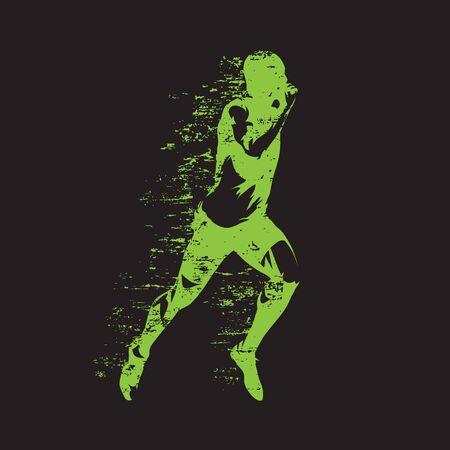 Laufender Mann, abstrakte grüne Vektorillustration. Lauf, sprintender Athlet