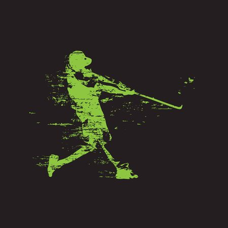 Baseball player, grunge style, abstract isolated vector silhouette