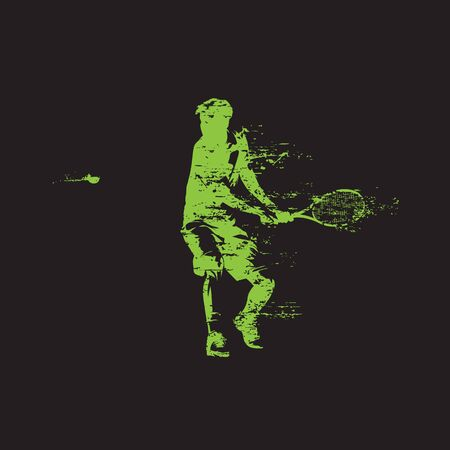 Tennis player, backhand shot, grunge style isolated vector silhouette