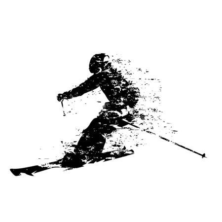Skifahrer, Abfahrtsski, isolierte Vektorsilhouette Vektorgrafik