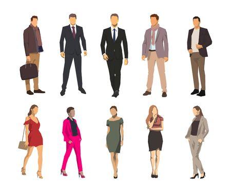 Hombres y mujeres de negocios, grupo de empresarios. Conjunto de ilustraciones vectoriales de diseño plano geométrico