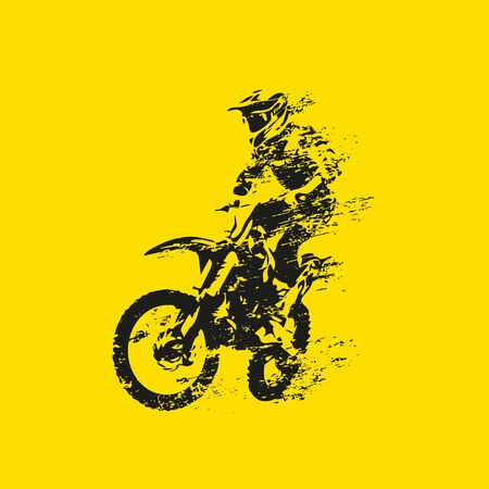 Motocross rider on his bike, abstract grunge vector silhouette