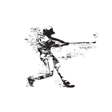 Baseballista uderza piłkę, streszczenie grunge na białym tle sylwetka wektor. Ciasto baseballowe