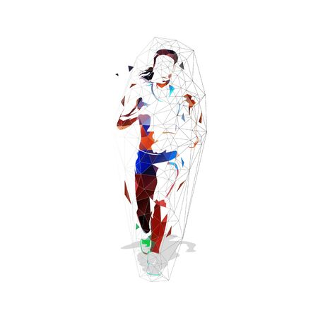 Running woman, front view. Low polygonal isolated vector illustration