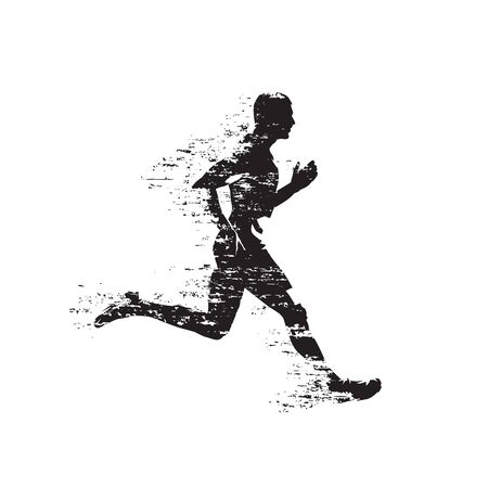 Runner, abstract isolated vector silhouette. Grunge style. Run, side view